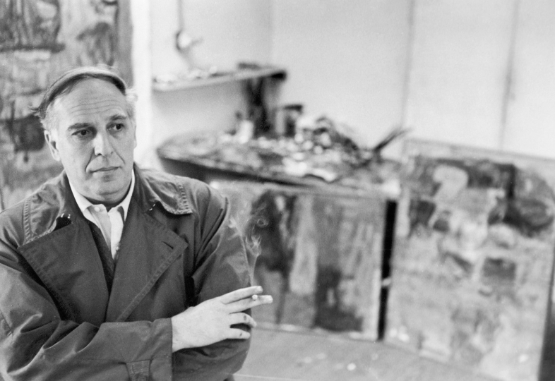 Painter Philip Guston in his studio on East Eighth Street, April 14, 1961 Unique vintage gelatin silver print, printed ca. 1961 - Copyright Fred W. McDarrah, Courtesy Steven Kasher Gallery, New York