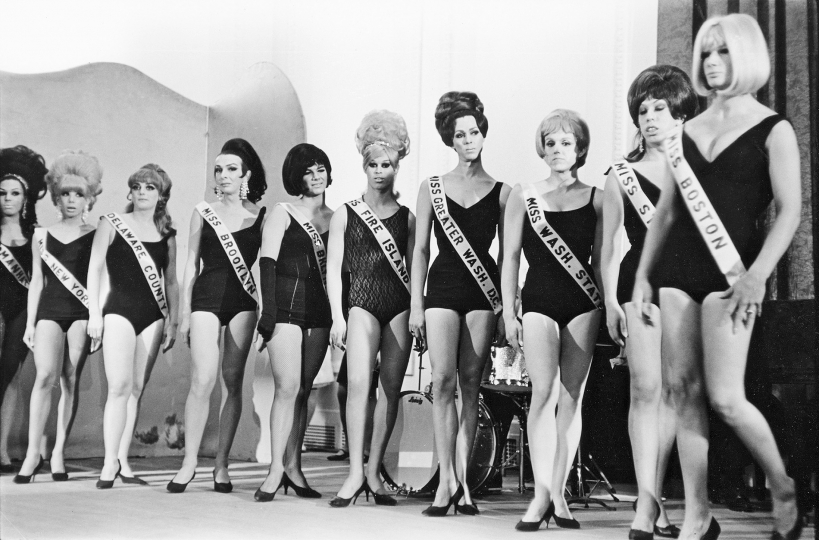 Drag queens compete in the Miss All-America Camp Beauty Pageant at Town Hall, 123 West Forty-Third St., February 20, 1967 Vintage gelatin silver print, printed ca. 1967 11h x 14w in Signed, titled, and dated by photographer recto; Signed, titled, dated, and stamped by photographer verso - Copyright Fred W. McDarrah, Courtesy Steven Kasher Gallery, New York