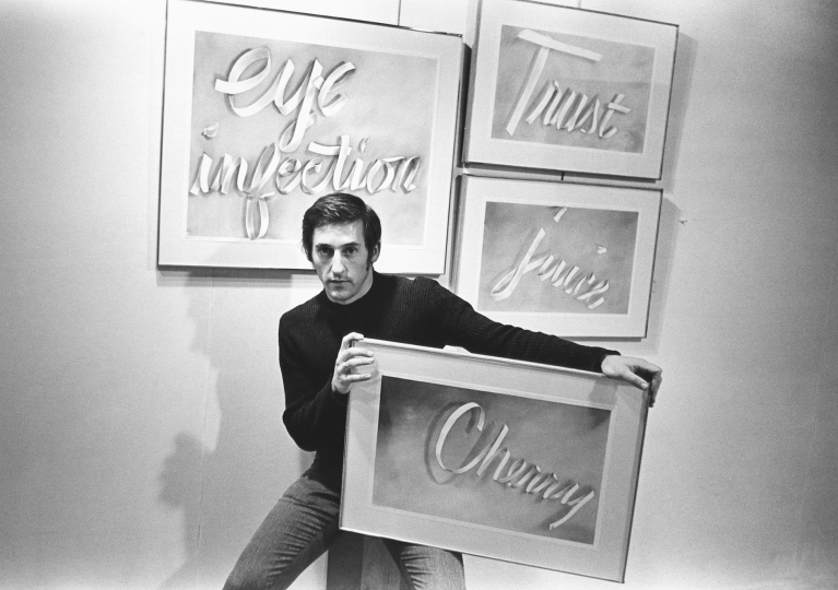 "Artist Ed Ruscha with some of his ""gunpowder ribbon drawings"", December 9, 1967 Vintage gelatin silver print, printed ca. 1967 - Copyright Fred W. McDarrah, Courtesy Steven Kasher Gallery, New York"