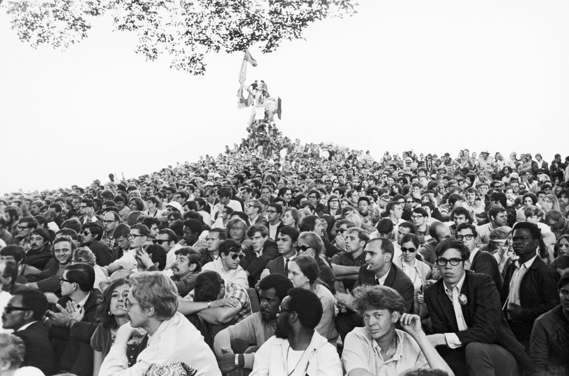 A crowd of demonstrators in Chicago's Grant Park during the Democratic National Convention, sitting around a hill topped by a statue of Union General John Logan, August 27, 1968 Vintage gelatin silver print, printed ca. 1968 11h x 14w in Signed, titled, dated, and stamped by photographer verso - Copyright Fred W. McDarrah, Courtesy Steven Kasher Gallery, New York