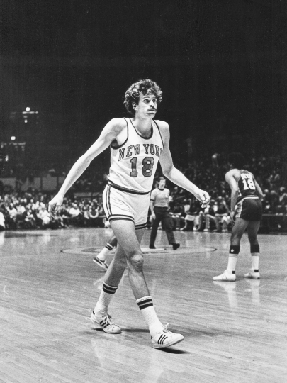 New York Knicks forward Phil Jackson on the hardwood at Madison Square Garden, February 19, 1973 Vintage gelatin silver print, printed ca. 1973 9 1/4h x 7w in Signed, titled, and stamped by photographer verso - Copyright Fred W. McDarrah, Courtesy Steven Kasher Gallery, New York
