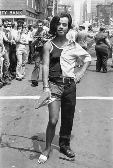Portrait of a parade-goer at the intersection of West Twenty-Third Street and Sixth Avenue during the Sixth Annual Gay Pride March (Gay Liberation Day), June 29, 1975 Vintage gelatin silver print, printed ca. 1975 10h x 8w in Titled, dated, and stamped by photographer verso - Copyright Fred W. McDarrah, Courtesy Steven Kasher Gallery, New York