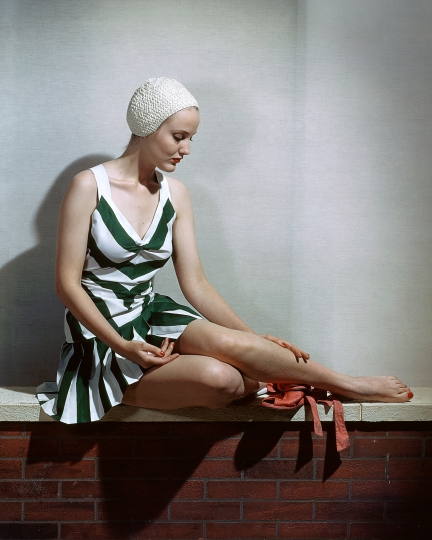 Horst P_Horst - SEATED MODEL WITH STRIPES – Courtesy YellowKorner