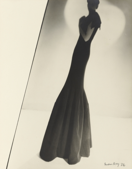 Man Ray American, 1890–1976 Model Wearing a Gown by Augustabernard, 1936 Gelatin silver print 28.9 x 22.7 cm (11 3/8 x 8 15/16 in.) The J. Paul Getty Museum, Los Angeles © Man Ray Trust ARS-ADAGP