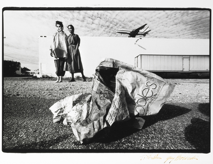 Guy Bourdin French, 1928–1991 Untitled, for Bloomingdale's, about 1977 Gelatin silver print 24.1 x 34.3 cm (9 1/2 x 13 1/2 in.) The J. Paul Getty Museum, Los Angeles, Gift of Arthur and Jeanne Cohen to honor Lucas and Juliette Cohen © The Guy Bourdin Estate