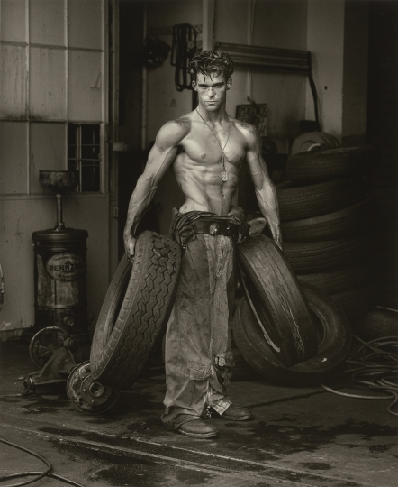 Herb Ritts American, 1952–2002 Fred with Tires, Hollywood, 1984 From the Body Shop series Gelatin silver print 47.1 x 38.6 cm (18 9/16 x 15 3/16 in.) The J. Paul Getty Museum, Los Angeles, Gift of Herb Ritts Foundation © Herb Ritts Foundation