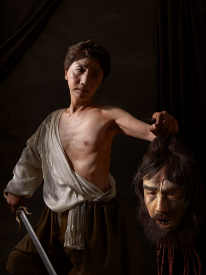 Yasumasa Morimura, Self-Portraits through Art History (Two Caravaggios / David Painting Goliath), 2016. Courtesy of the artist and Luhring Augustine, New York. © Yasumasa Morimura