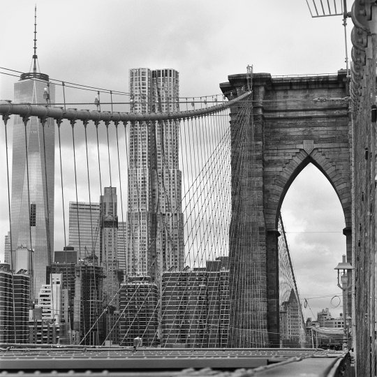 Brooklyn Bridge with the Gehry Tower - In the Shadow of Genius © Barbara Mensch
