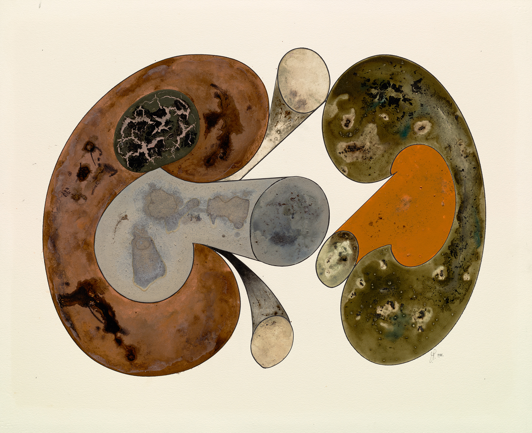 Irving Penn, Aging Mushrooms, 1988. Ink, watercolor, and dry pigment with gum arabic over platinum-palladium print on paper © The Irving Penn Foundation