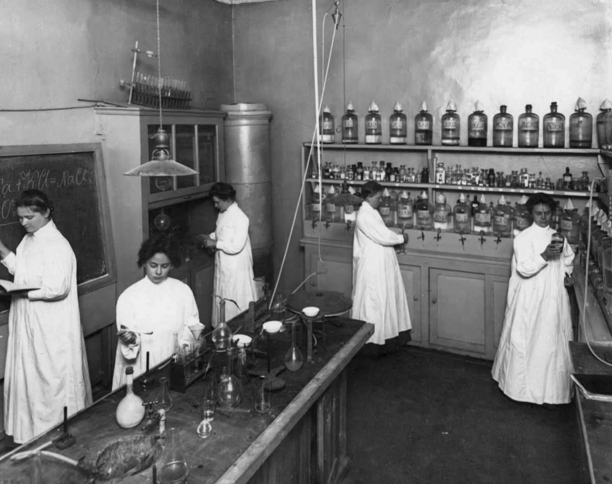Students  in a pharmaceutical chemistry class Saint Petersburg, [1912] Karl Bulla Photography Studio Central State Film and Photo Archive of Saint Petersburg