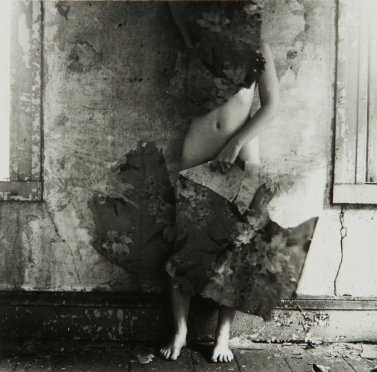 FRANCESCA WOODMAN Providence, Rhode Island from Space2 1976 Gelatin silver print. Image courtesy of Phillips 4 5/8 x 4 3/4 in. (11.7 x 12.1 cm) A lifetime print by the artist, signed by George Woodman, Executor, in pencil and 'Printed by Francesca Woodman, Estate of Francesca Woodman' stamp on the verso. Estimate: $40,000 - 60,000