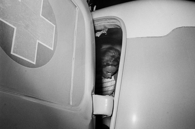 LOS ANGELES – JUNE 5: Ethel Kennedy in an ambulance after her husband New York Senator Robert F. Kennedy was shot at the Ambassador Hotel, Los Angeles, California, June 5, 1968. On June 6th at 1:44-am the 42-year old Kennedy died of a gunshot wound to the head at the Good Samaritan Hospital. © David Hume Kennerly
