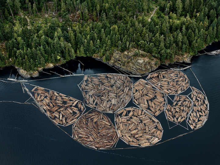 Log Booms #1, Vancouver Island, British Columbia, Canada, 2016, (c) Edward Burtynsky, Courtesy of Flowers Gallery, London and Metivier Gallery, Toronto
