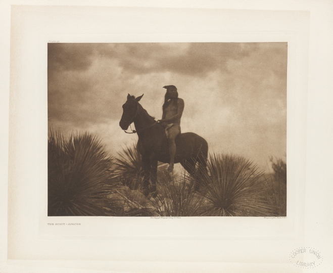 The Scout - Apache. - The North American Indian by Edward S Curtis - courtesy of Swann Auction Galleries