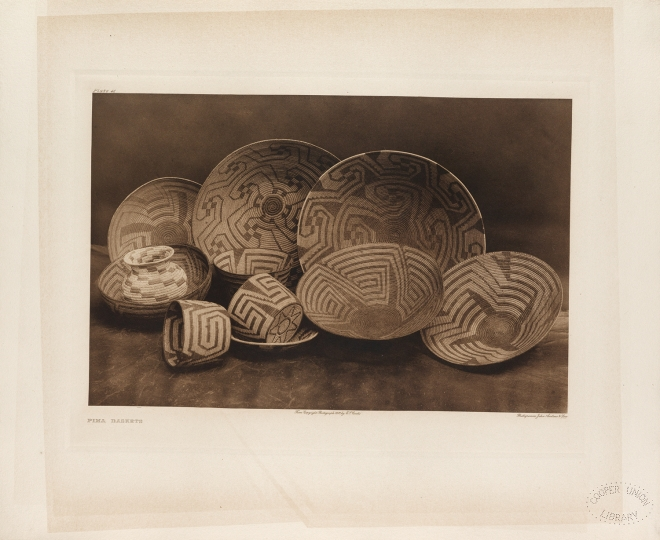 Pima baskets. Sonoran Desert, Arizona and Mexico. - The North American Indian by Edward S Curtis - courtesy of Swann Auction Galleries