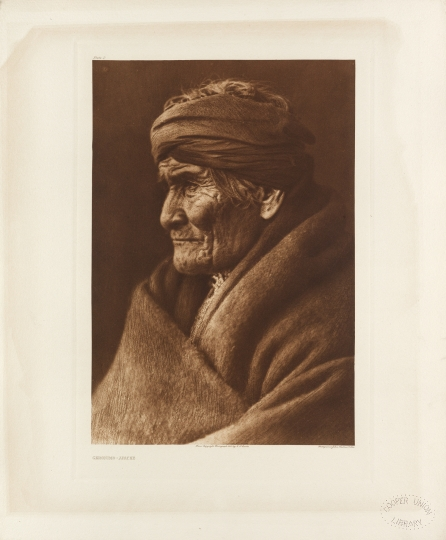 Geronimo, a prominent leader and medicine man of the Apache, who became a celebrity in old age. - The North American Indian by Edward S Curtis - courtesy of Swann Auction Galleries