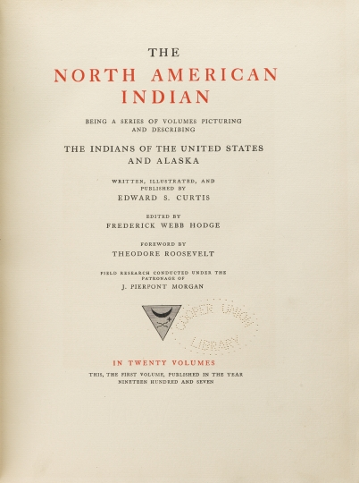 The title page to Edward S Curtis's The North American Indian. The North American Indian by Edward S Curtis - courtesy of Swann Auction Galleries