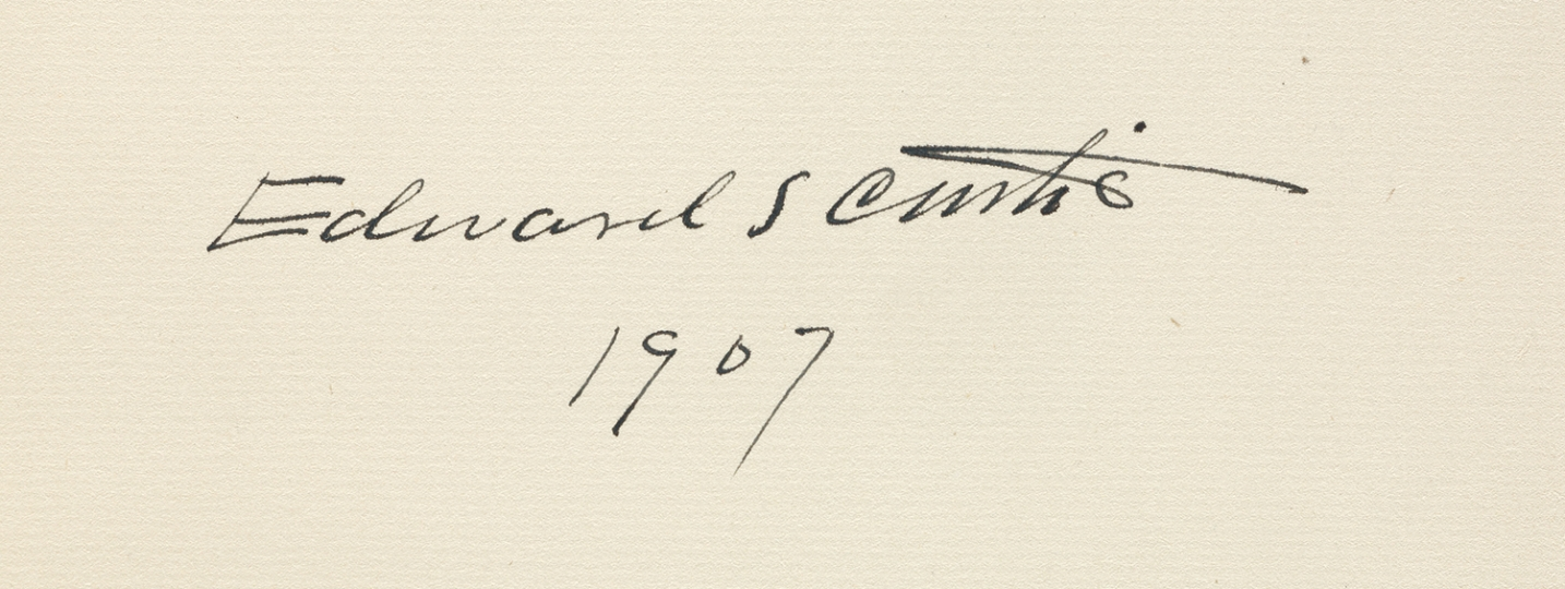 The author's autograph signature as it appears in the first volume and dated the year that he began the project. The North American Indian by Edward S Curtis - courtesy of Swann Auction Galleries