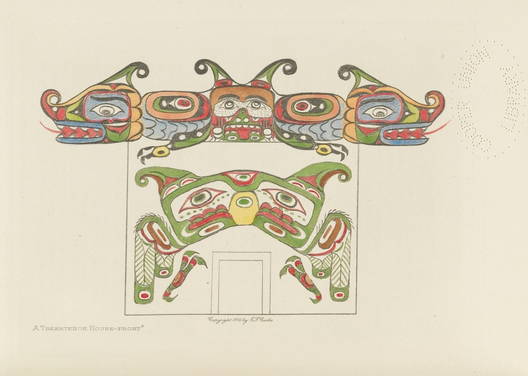 One of Curtis's drawings from The North American Indian, showing a Tsawatenok House front. British Columbia. The North American Indian by Edward S Curtis - courtesy of Swann Auction Galleries