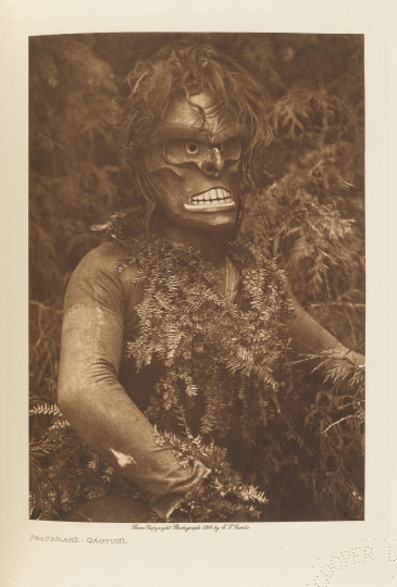 Páqŭsĭlahl – a masked dancer of the Qáĥgyuĥl. - The North American Indian by Edward S Curtis - courtesy of Swann Auction Galleries