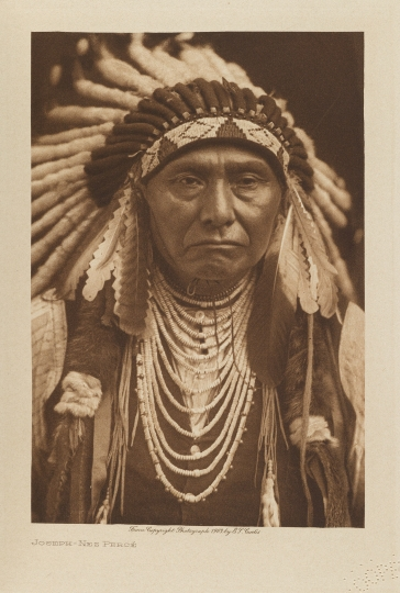 Chief Joseph of the Nez Percé. Pacific North West. One of the most iconic figures of the American Indian Wars. - The North American Indian by Edward S Curtis - courtesy of Swann Auction Galleries