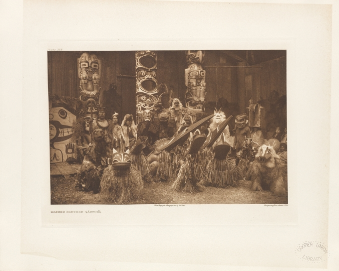Masked dancers of the Qáĥgyuĥl, part of the Kwakiutl tribe of the Western of coast of British Columbia in Canada. - The North American Indian by Edward S Curtis - courtesy of Swann Auction Galleries