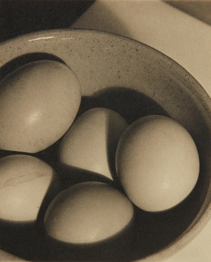 PAUL OUTERBRIDGE, JR. Eggs and Bowl 1922 Platinum print. 3 5/8 x 3 in. (9.2 x 7.6 cm) Signed and dated in pencil on the mount. Image courtesy of Phillips Estimate: $70,000 - 90,000