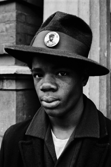 1970 - Chicago, Illinopis, USA: Teenager on Chicago's south side wears a Bobby Seale button on his hat to show his support. The Black Panthers were able to motivate urban youth. (Stephen Shames/courtesy Stephen Kasher Gallery)