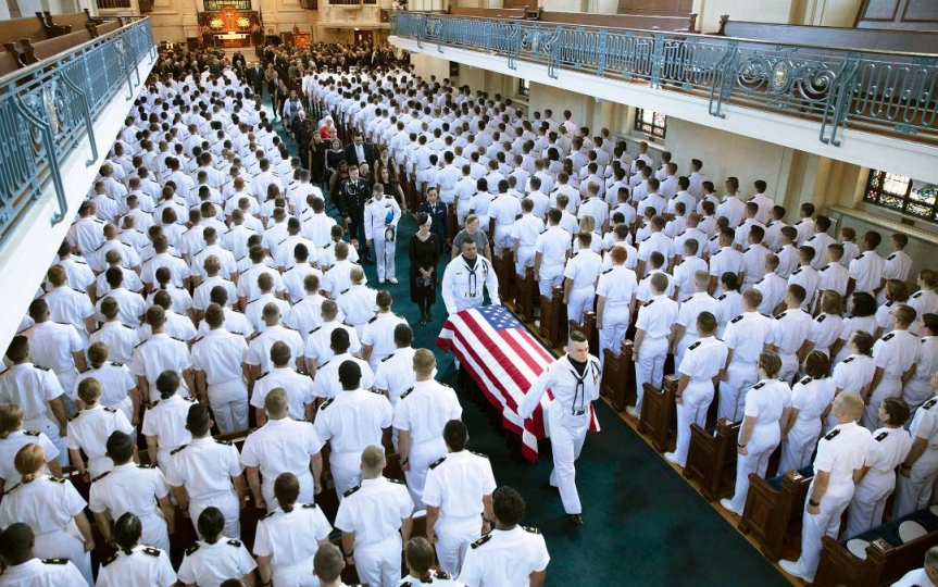 ANNAPOLIS -- SEPT 2: The casket carrying the remains of Sen. John McCain, leaves the U.S. Naval Academy Chapel, Annapolis, Maryland, September 2, 2018. (Photo by David Hume Kennerly/McCainFamily) © David Hume Kennerly
