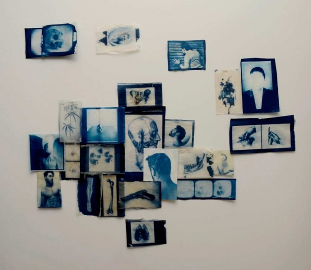 El Azul, Cannon Bernáldez 2018 110 x110 cm Cyanotype on Tea bags and Japanese paper Courtesy of Patricia Conde Galería