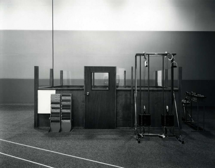 Racquet Club, Windsor, Lynne Cohen 1980 19 x 24cm Gelatin silver photograph Estate of Lynne Cohen, Courtesy Stephen Daiter Gallery