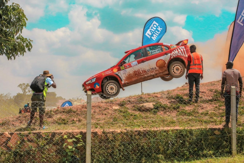 Kagonyera Busingye 3rd Place, Sport Airborne Ugandan rally legend Ronald Sebuguzi's car flies through the air as he powers across a bridge at the Pearl Of Africa Rally 2018. The Pearl Of Africa Rally is the biggest event in Uganda's motorsport calendar, attracting not only local crews but also teams from across the region and as far afield as Zambia and elsewhere.