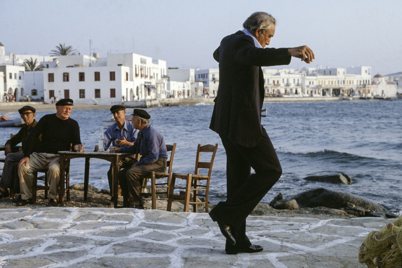 Mexican-born American actor Anthony Quinn as shipping magnate Onassis on the film set of 'The Greek Tycoon' by director J. Lee Thompson, Mykonos, Greece, 1978. © Eva Sereny