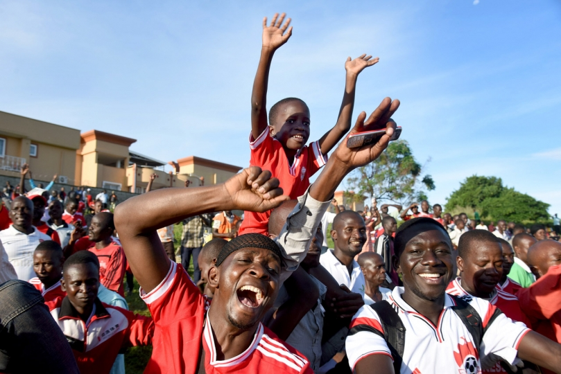 Richard Sanya Honorable Mention, Sport Express Fan Fans go wild as Express FC scores a crucial goal to escape being relegated to the FUFA Big League, during a match that was the most trying moment of the club's 61 years of existence. The Red Eagles out-muscled a hard battling Masavu FC 1-0 at the lakeside Fisheries Training Institute playground in Bugonga, Entebbe, on the final day of the 2017/18 Uganda Premier League, May 25th 2018.