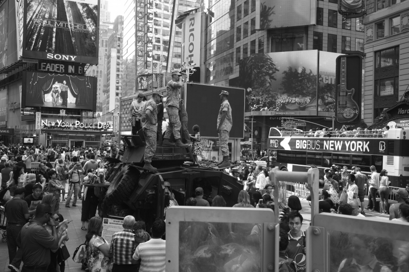 Fleet Week in New York. Servicemen brought 2 tanks into the Square and personnel answered questions and showed off some weapons. © Betsy Karel - America's Stage: Times Square