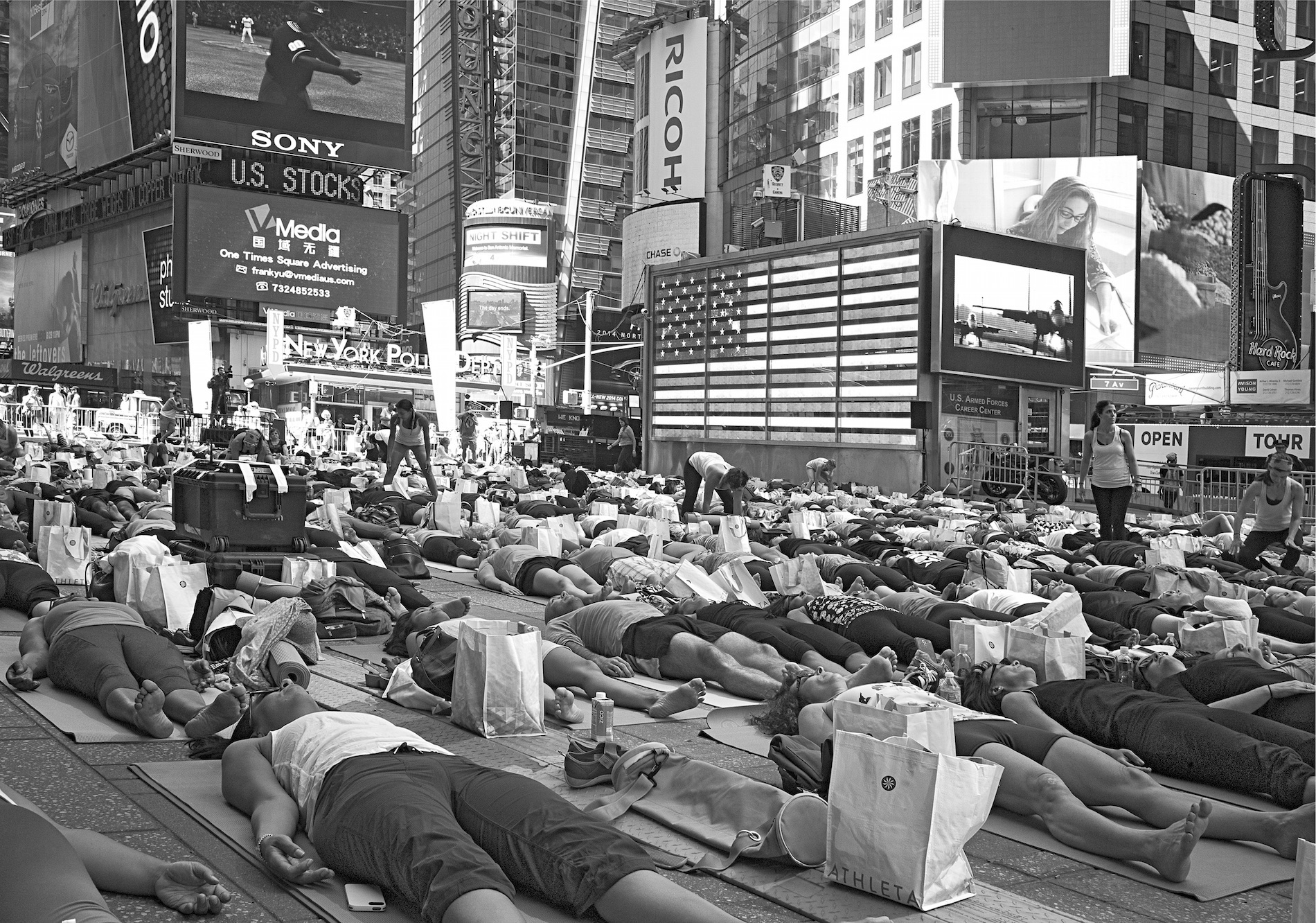 On the summer solstice every year, yoga classes are held all day.  ©  Betsy Karel - America's Stage: Times Square