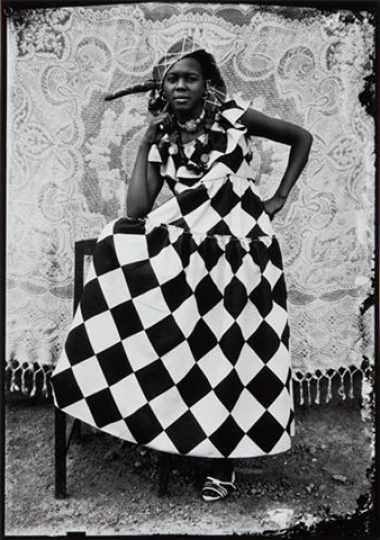 100. Seydou Keita, A woman wearing a Harlequin dress, 1950s, Image courtesy of Danziger Gallery