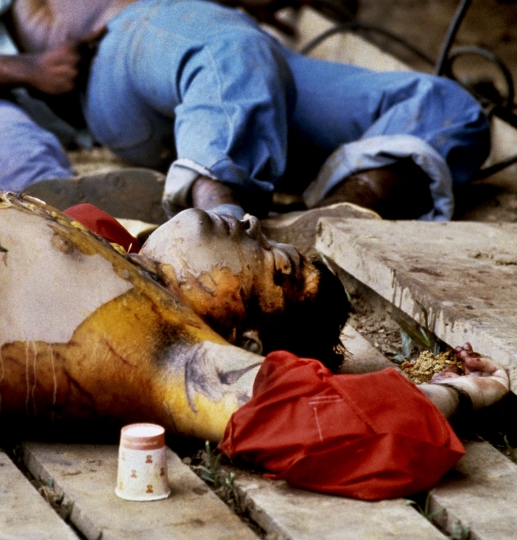 GUYANA- NOVEMBER 18: (NO U.S. TABLOID SALES) Reverend Jim Jones' bloated body after his autopsy by officials (sewn back together). On November 18, 1978 over 900 members of the People's Temple Cult led by Reverend Jim Jones died in Jonestown, Guyana victims of mass murder and suicide. (Photo by David Hume Kennerly/Getty Images)