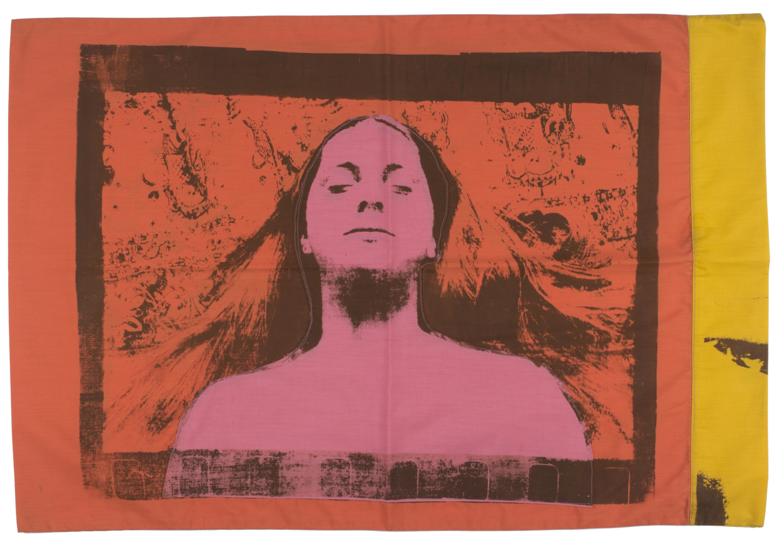Joan Lyons Pillowcase, 1969 Silkscreen on pieced fabric 20h x 29 1/2w in Unique, Signed by artist on signature label - Courtesy Steven Kasher Gallery
