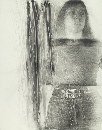 Joan Lyons Untitled (from the Womens' Portrait series), 1974 Haloid Xerox transfer and drawing 26h x 19w in Unique, Signed by artist verso - Courtesy Steven Kasher Gallery