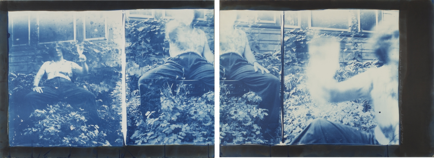 Joan Lyons 50th Birthday Print (Self-portrait), 1987 Cyanotype and Vandyke brown two sheet print from 16x20