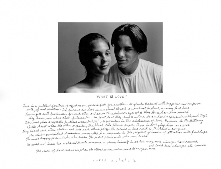 Duane Michals: What Is Love?, 1994, gelatin silver print with hand-applied text, edition 1/25, signed, titled, and numbered recto in ink, image size: 16˝x20˝, sheet size: 16˝x20˝ ($4,000–$7,000)