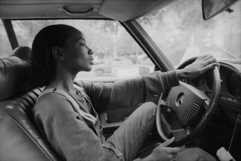 Mounia driving Mercedes 1982