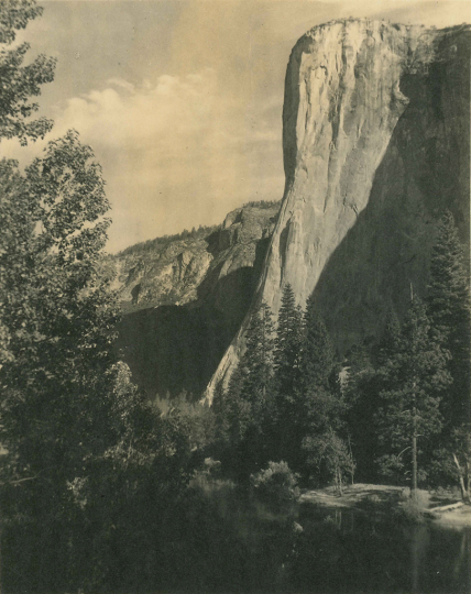 Ansel Adams, El Capitan, Yosemite Valley, c. 1927 Vintage parmelian print 7 x 5.75 inches - Copyright The Ansel Adams Publishing Rights Trust