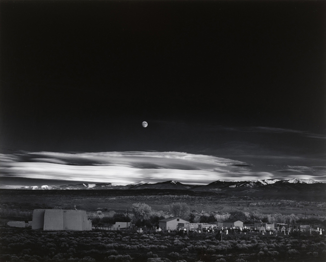 Ansel Adams, Moonrise, Hernandez, New Mexico, 1941, Gelatin silver print, printed 1970's Signed on mount recto 19.5 x 15.5 inches - Copyright The Ansel Adams Publishing Rights Trust