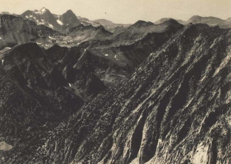 Ansel Adams, Mount Ritter and Banner Peak from Silver Pass, from Sierra Club Album, c.1929, Silver print Kodak opaline paper 5.5 x 7.5 inches - Copyright The Ansel Adams Publishing Rights Trust