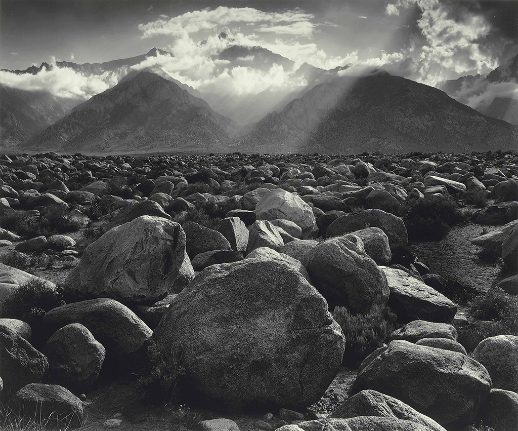 Ansel Adams, Mount Williamson, Sierra Nevada, from Manzanar, California, 1944, Silver print 15.5 x 19.5 inches - Copyright The Ansel Adams Publishing Rights Trust
