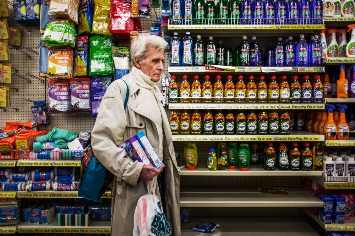 LONDON, UNITED KINGDOM - APRIL 01, 2013: George goes shopping in a 99-pence shop April 01, 2014 in London, United Kingdom. He regularly comes here to look for 'good value for cheap prices' and often buys several items of the same product.  © Corinna Kern