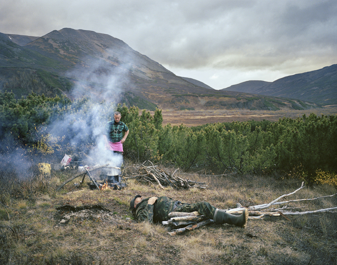 Camping with Sasha and Paval, Kamchatka Peninsula. Far East Russia, October 2004 © Simon Roberts – Courtesy Flowers Gallery