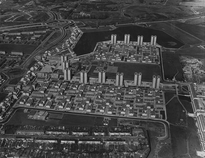 Aerial photograph of Area 1 looking north with Southmere Lake (top). 1971 © Bexley Local Studies & Archive Centre